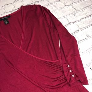 White House Black Market Tops - ⭐️ WHBM cranberry red long sleeve v-neck top